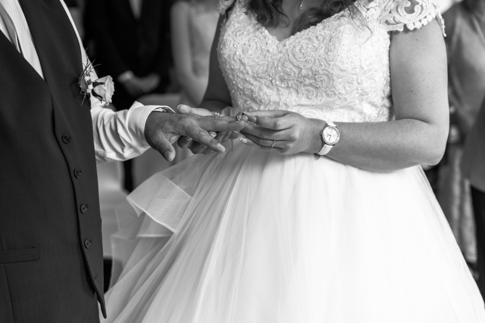bride and groom hands exchanging rings